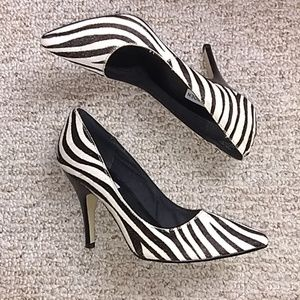 Steve Madden • Zebra Fur Leather Pointed Heels
